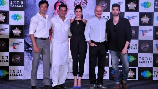 "Mumbai: Actors Anupam Kher, Kirti Kulhari, Neil Nitin Mukesh, Tota Roy Chowdhury and director Madhur Bhandarkar during trailer launch of their upcoming film ""Indu Sarkar"" in Mumbai, on June 16, 2017. (Photo: IANS)"
