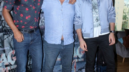 "Mumbai: Actors Kunal Kapoor, Mohit Marwah and director Tigmanshu Dhulia during the song launch of upcoming film ""Raag Desh"" in Mumbai on July 13, 2017. (Photo: IANS)"