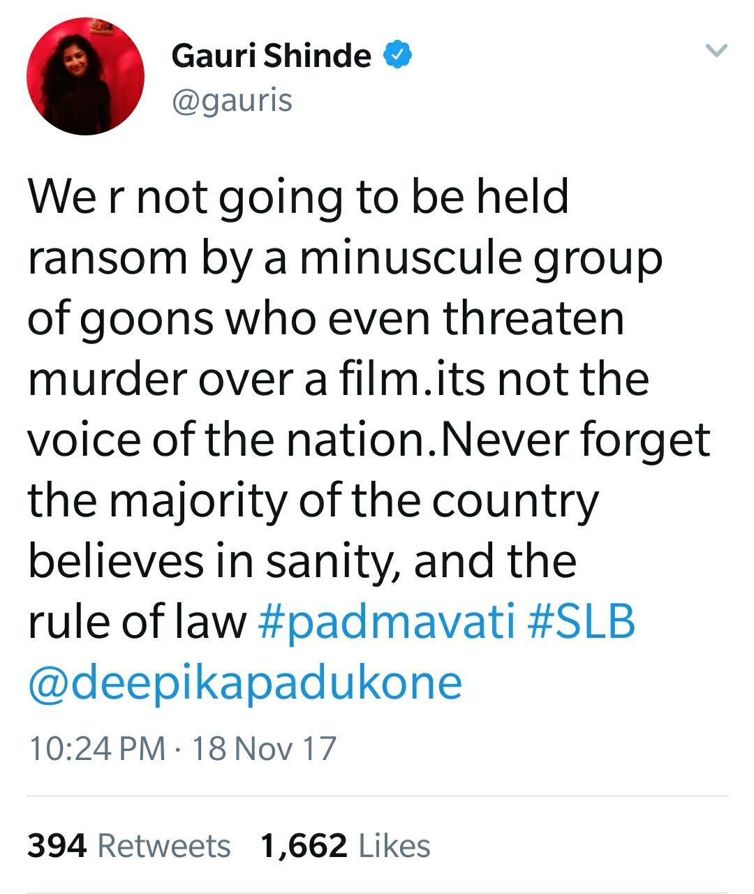 Gauri Shinde Twitter